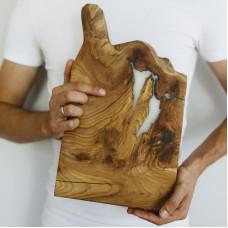 Коллекционная разделочная доска Seviano 10 из слэба карагача с эпоксидной смолой