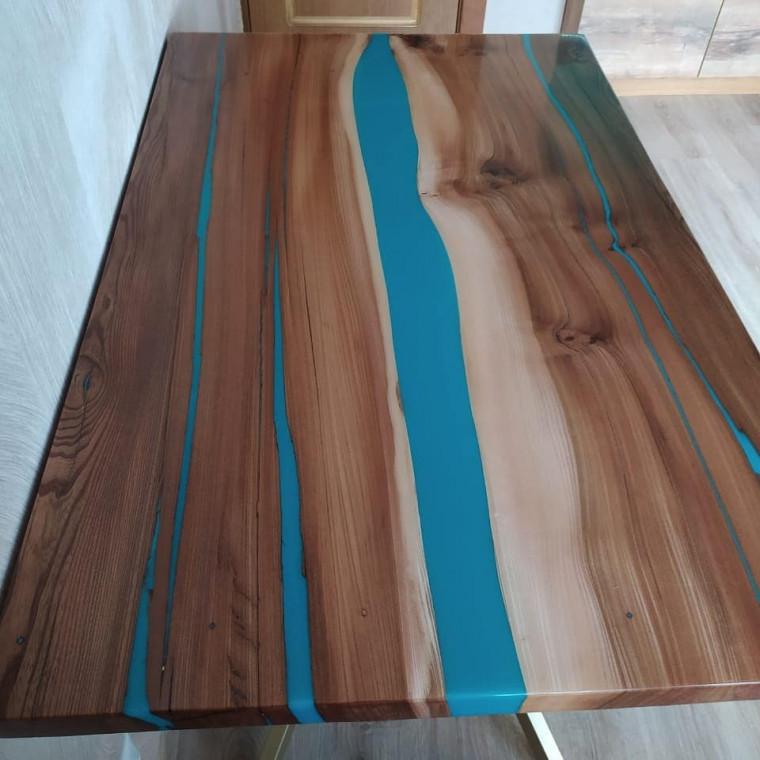 Обеденный стол река Partell из слэбов карагача