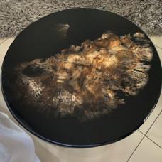 Журнальный стол Mirrey black-X из окаменелого мадагаскарского дерева (150 млн лет)