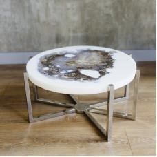 Журнальный стол Mirrey white из окаменелого мадагаскарского дерева (150 млн лет)