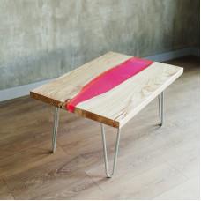 Журнальный стол река Pinkee из слэбов розовой акации